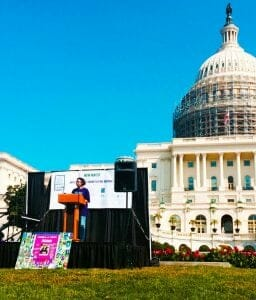 Laura Collins at Mom's March in Washington 2014